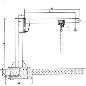Чертеж - Консольный кран на колонне HADEF 360/01 H
