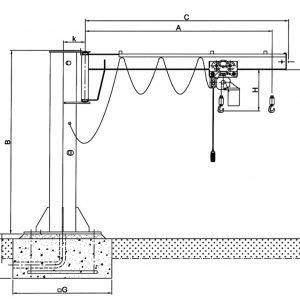 Чертеж - Консольный кран на колонне HADEF 360/01 E