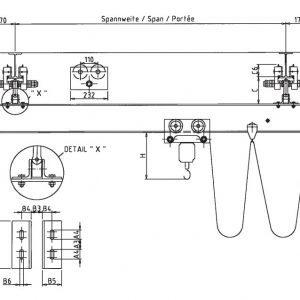 Чертеж - Однобалочный мостовой подвесной кран HADEF TA