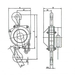 Чертеж - Таль ручная шестеренчатая стационарная HADEF 16/12 5-50т