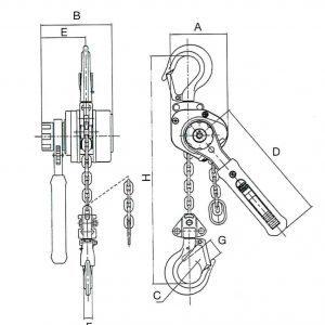 Чертеж - Таль ручная шестеренчатая стационарная HADEF 53/07A, 0,25-1,5т