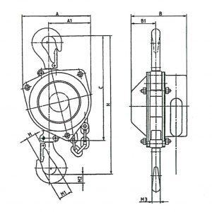Чертеж - Таль ручная шестеренчатая стационарная HADEF 9/98