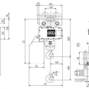 Чертеж - Таль цепная электрическая STAHL ST 3216
