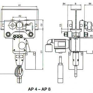 Чертеж - Таль цепная пневматическая HADEF 70/06 APP 0,5-5т