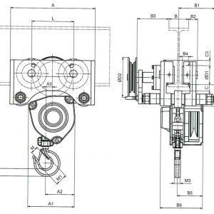 Чертеж - Таль цепная с передвижной кареткой HADEF 21/12 HR+HH
