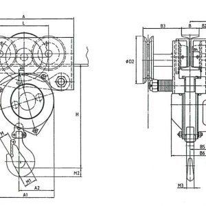 Чертеж - Таль цепная с передвижной кареткой HADEF 240/98 HR+HH
