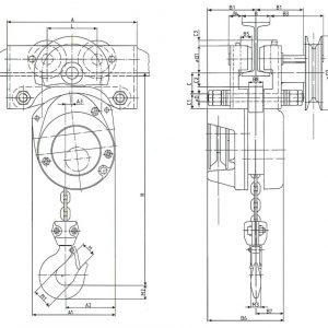 Чертеж - Таль цепная с передвижной кареткой HADEF 23/95 HR+HH