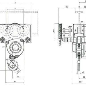 Чертеж - Таль цепная с передвижной кареткой HADEF 24/12 HR+HH
