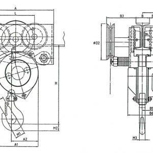 Чертеж - Таль цепная с передвижной кареткой HADEF 24/98 HR+HH