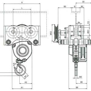 Чертеж - Таль цепная с передвижной кареткой HADEF 27/12 HR+HH